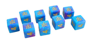 blue and pink dice, the Kadathian Ice Sigil of the Dreamlands