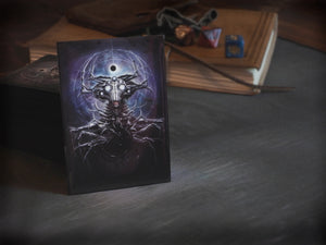Playing card sleeves with art depicting Whisperer in the Web by David LaRocca