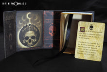 red and black Mark of the Necronomicon deck box with lore card