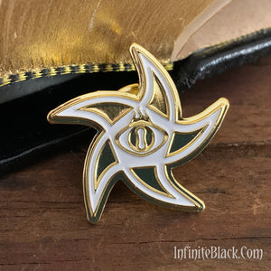 Astral Elder Sign Pin - Gold and White Enamel