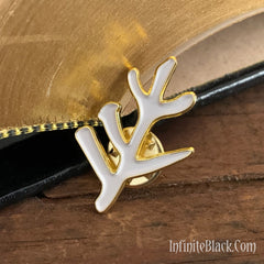 Elder Sign Pin - Gold and White Enamel