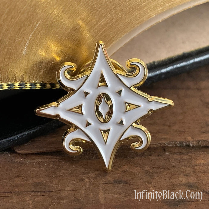 The Star of Azathoth Pin - Gold and White Enamel