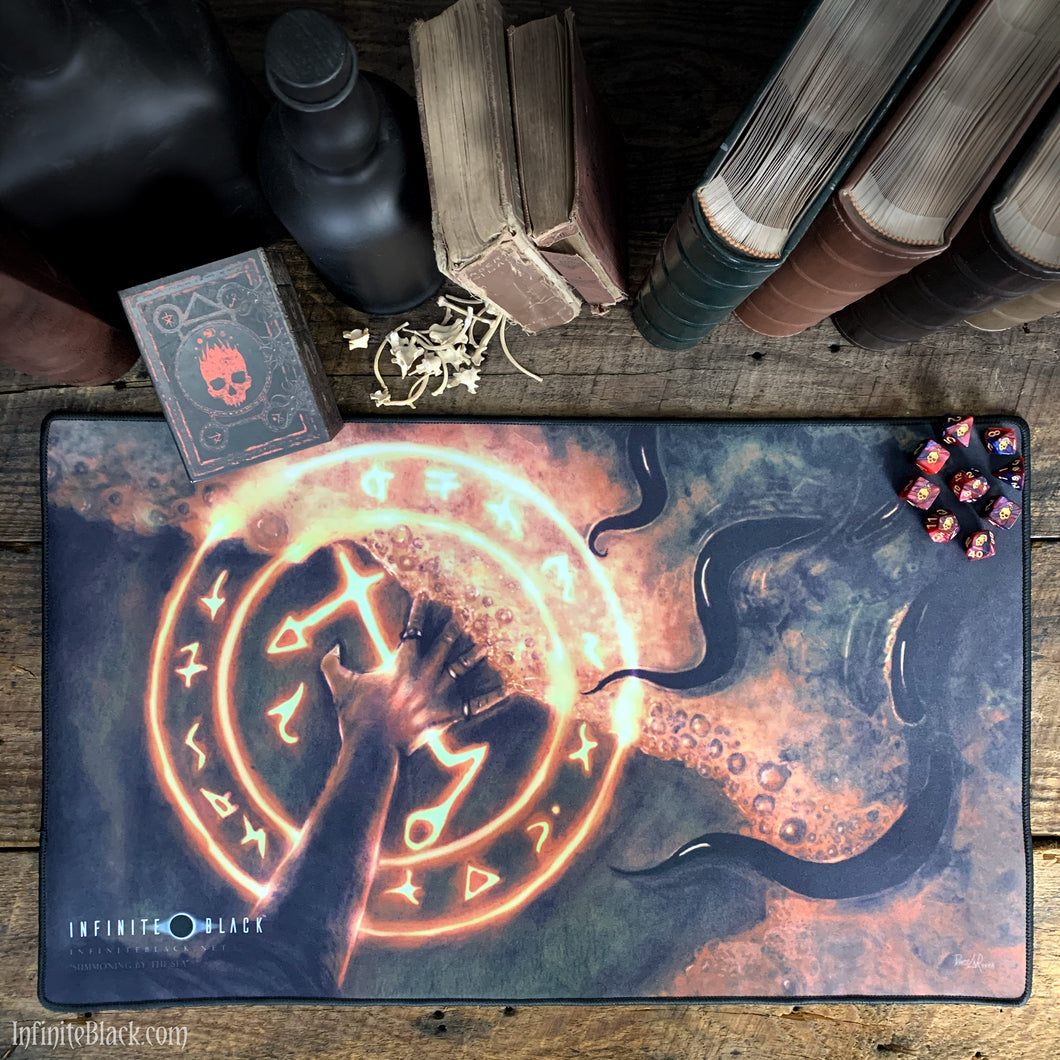Summoning by the Sea premium stitched-edge playmat
