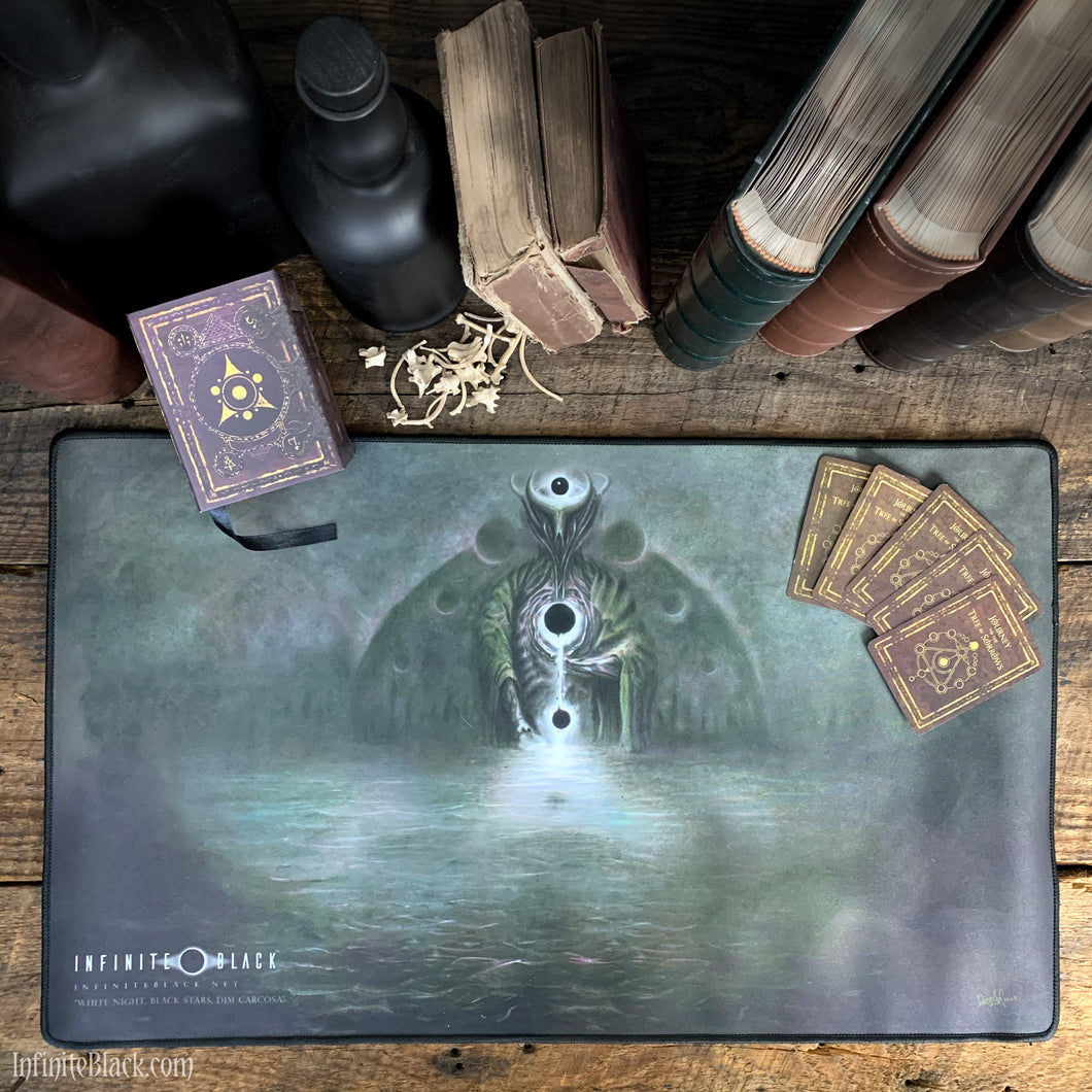 White Night, Black Stars, Dim Carcosa premium stitched-edge playmat