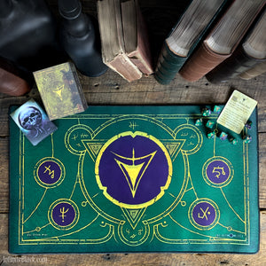 The Yellow Sign (Masked purple and green edition) premium stitched-edge playmat