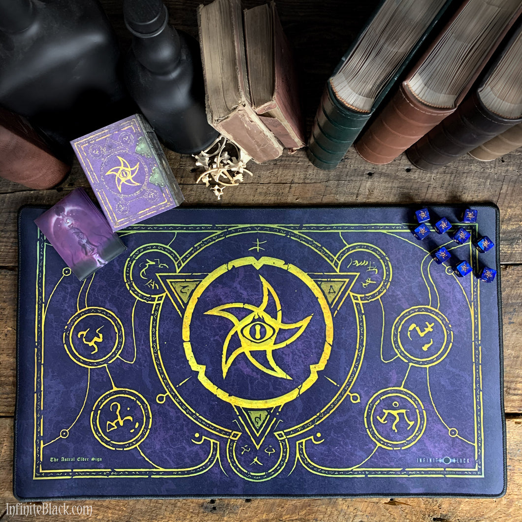 The Astral Elder Sign Mystic Purple premium stitched-edge playmat