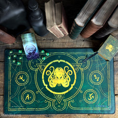 The Brand of Cthulhu Drowned Green premium stitched-edge playmat