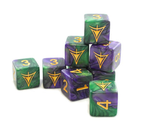 The purple and green Mask edition Yellow sign d6 dice