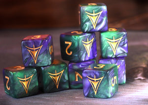 purple and green Yellow Sign d6 dice set