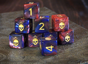 "Red and Blue ""Blood and Magick"" necronomicon dice d6 set"