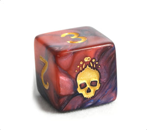 Close up of skull symbol on Necronomicon blue and red d6