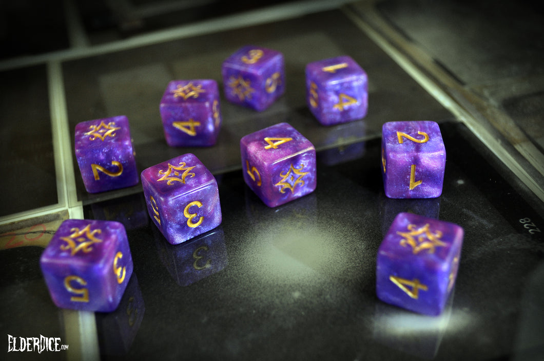 Nebula purple Azathoth d6 dice