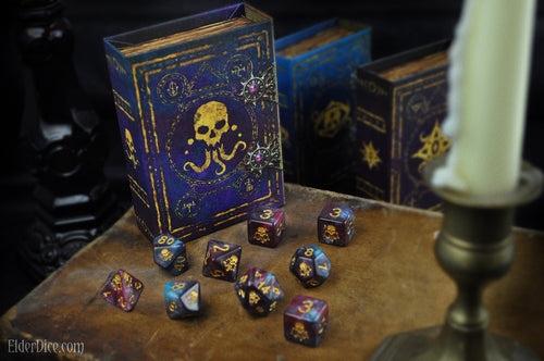 Yog-Sothoth dice polyhedral set with spellbook grimoire nebula edition