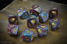yog-sothoth d10 dice blue and red nebula edition