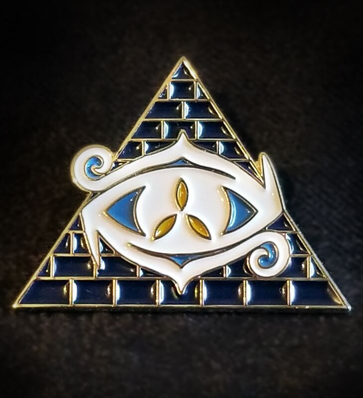 blue and hold origins Eye of chaos collectible pin