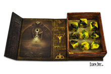 Open Elder Dice tome containing the Yellow Sign dice