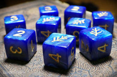 Elder Sign Dice  - Blue Aether d6 Set