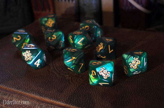 Brand of Cthulhu Dice: Drowned Green d10 Set
