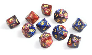 Mark of the Necronomicon red and blue dice d10s