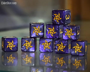 the astral purple d6 dice set in mystic purple