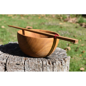 Teak Wooden Bowl and Chopstick Set