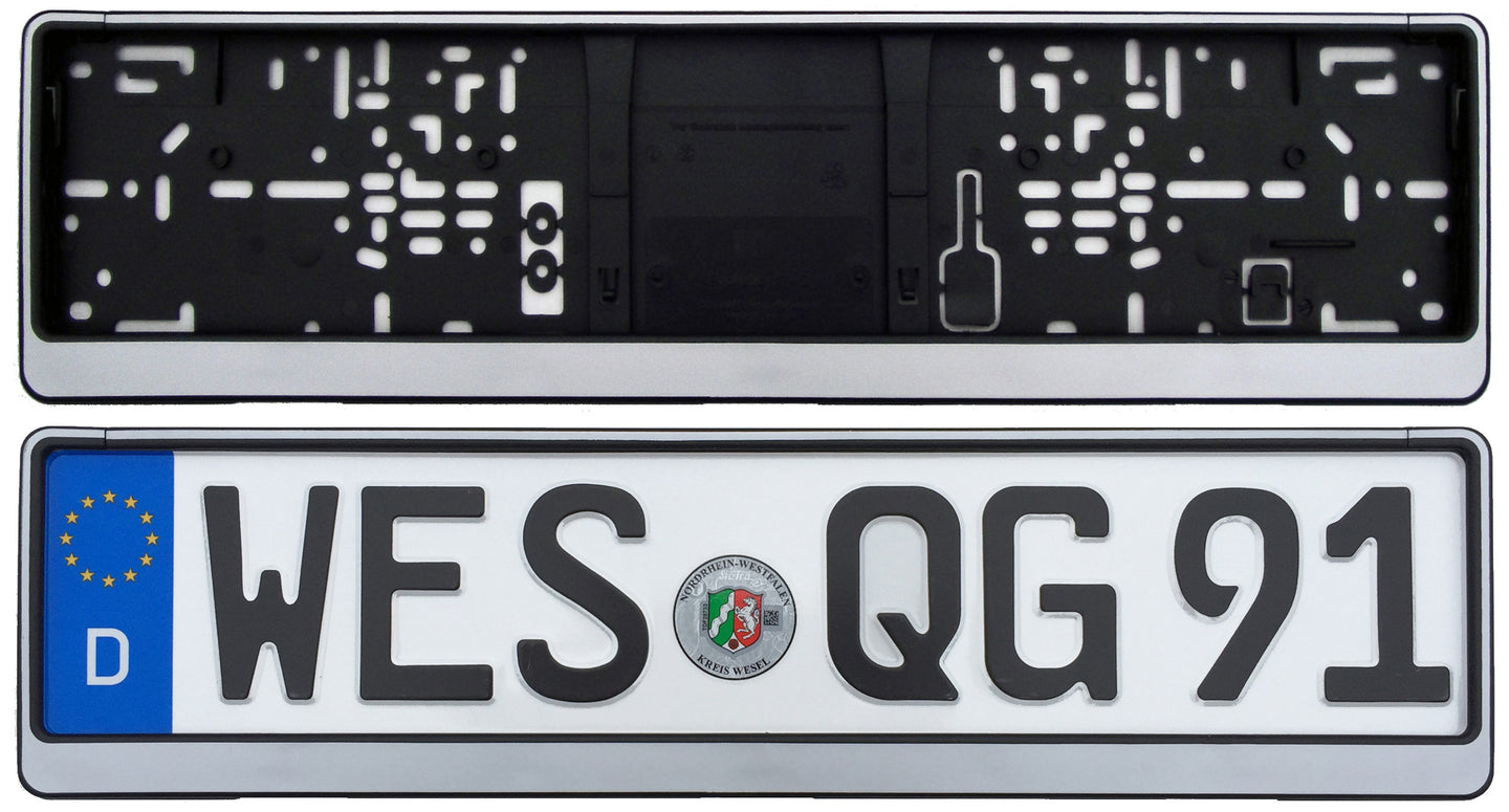 German License Plate Frame - Evo2 - Silver