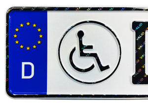 Disabled / Handicap German License Plate with Hologram Lettering