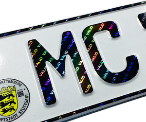 Mercedes Stuttgart German License Plate with Hologram Lettering