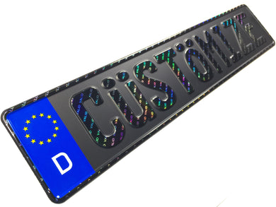 Custom Black German License Plate with Hologram Lettering