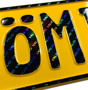 Custom Yellow German License Plate with Hologram Lettering