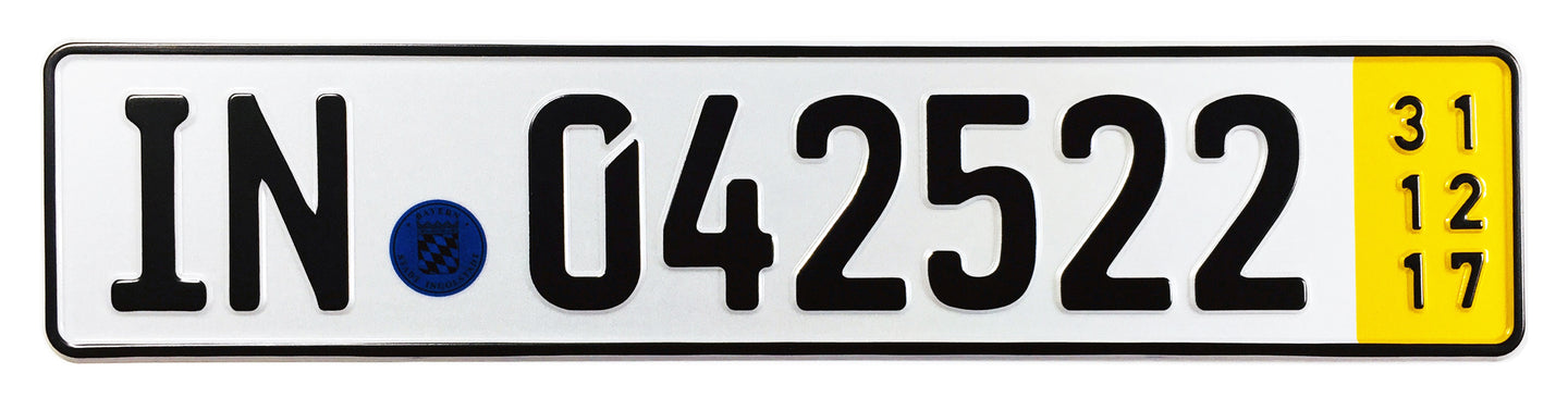 Ingolstadt Temporary German License Plate for Audi