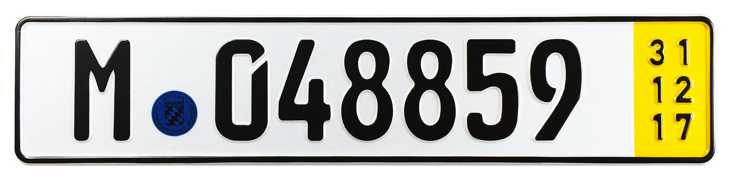 Munich Temporary German License Plate compatible with BMW