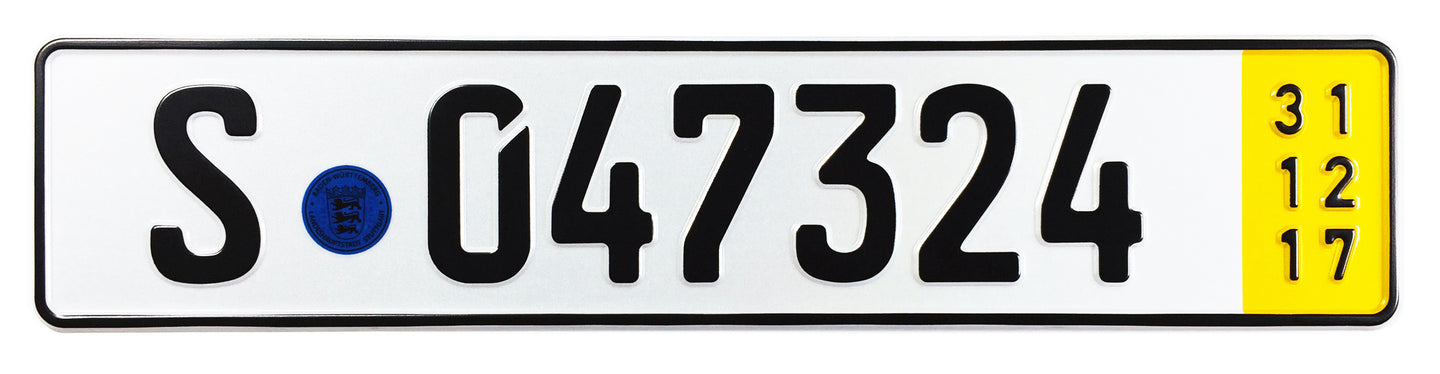 Stuttgart Temporary German License Plate for Mercedes, Porsche