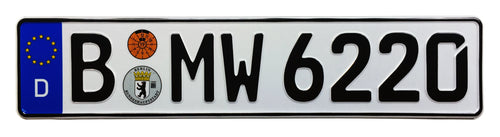 European German License Plate compatible with BMW