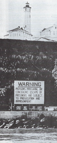 Warning sign outside the prison of Alcatraz