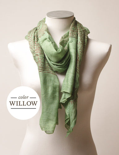 Willow Scarf with Hand Print and Hand Made Fair Trade