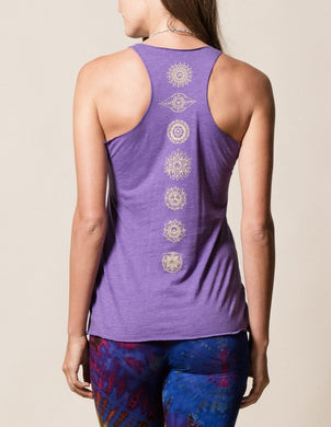 Chakra Purple Tank with Gold Design and Print down the Back on Model