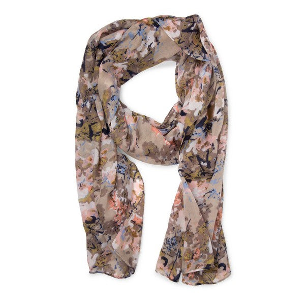 Tan Floral Patterned Fair Trade Scarf