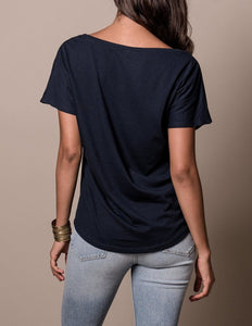Blue Shirt with Plain Back on Model