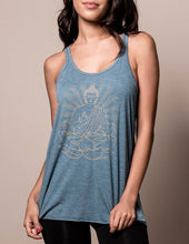Buddha Tank Gold Front on Gray/Blue Color on Model