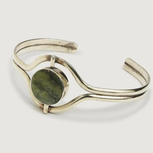 Mood Bracelet in Green with Silver Band Fair Trade Made Gift