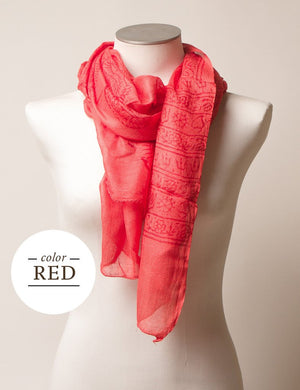Red scarf Fair Trade Hand Printed gift