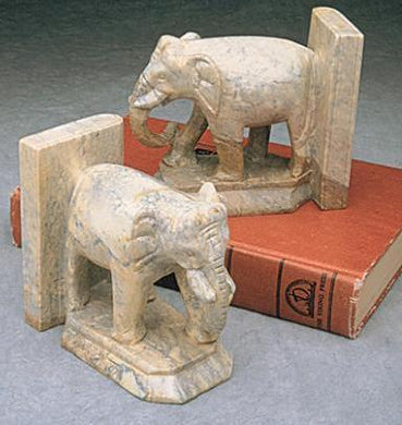 Elephant Bookends of Stone Fair Trade Gift on Book with Unique Coloring