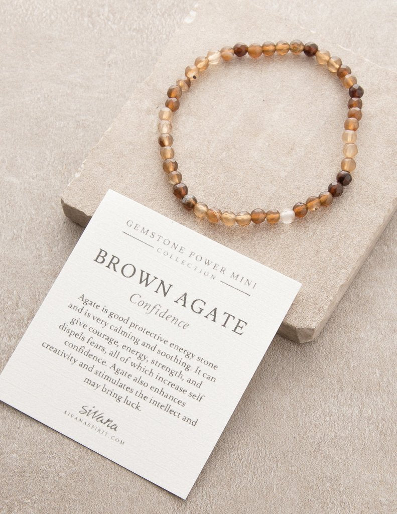 Mini Gemstone Energy Bracelets - Brown Agate (Confidence)