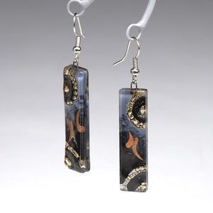 Glass Printed Earrings made by Artisans Unique Coloring with Dark Earth Tones Fair Trade