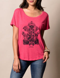 Fair Trade Elephant Tank Top in Pink