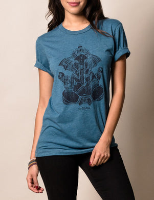 Ganesh Elephant Tee Eastern in Blue