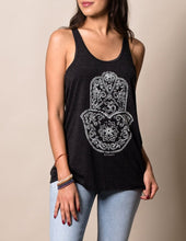 White Print on Black Racerback Tee for Hamsa Om