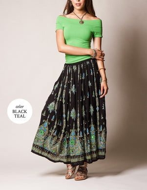 Fair Trade Green and Black patterned Jyoti skirt