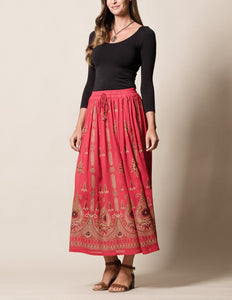 Jyoti Red Skirt made in India Fair Trade
